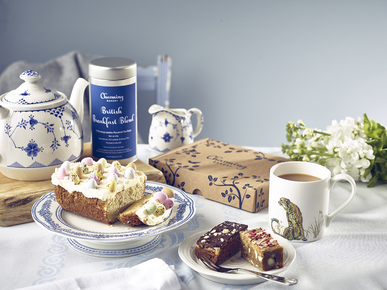 Easter Cake, Tea and Brownie - Lifestyle shot
