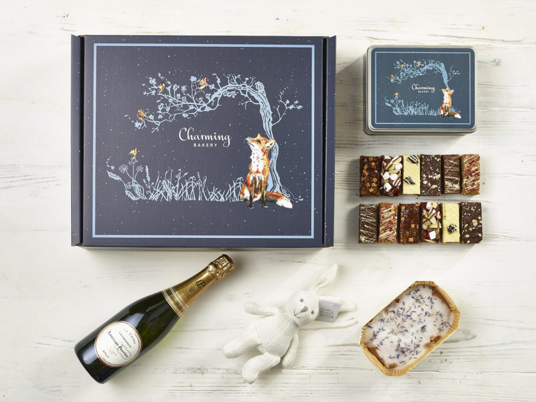 Ultimate Champagne New Baby Gift Hamper - Fox Design - Charming Bakery