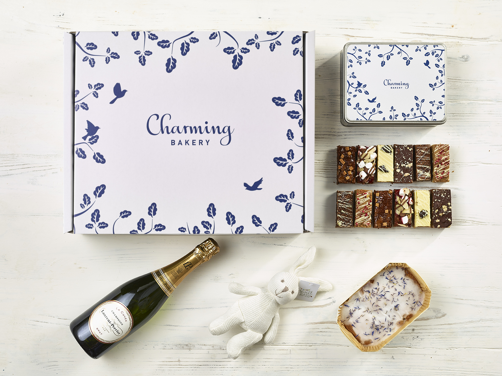 Ultimate Champagne New Baby Gift Hamper - Leaves Design - Charming Bakery