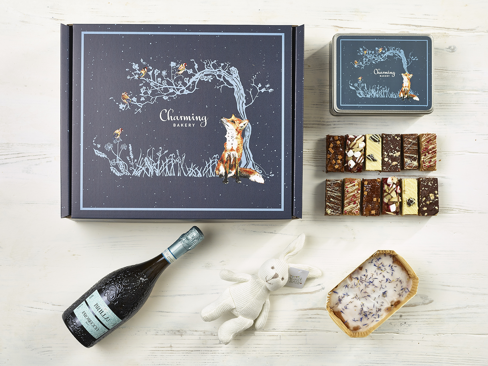 Ultimate Prosecco New Baby Gift Hamper - Fox Design - Charming Bakery