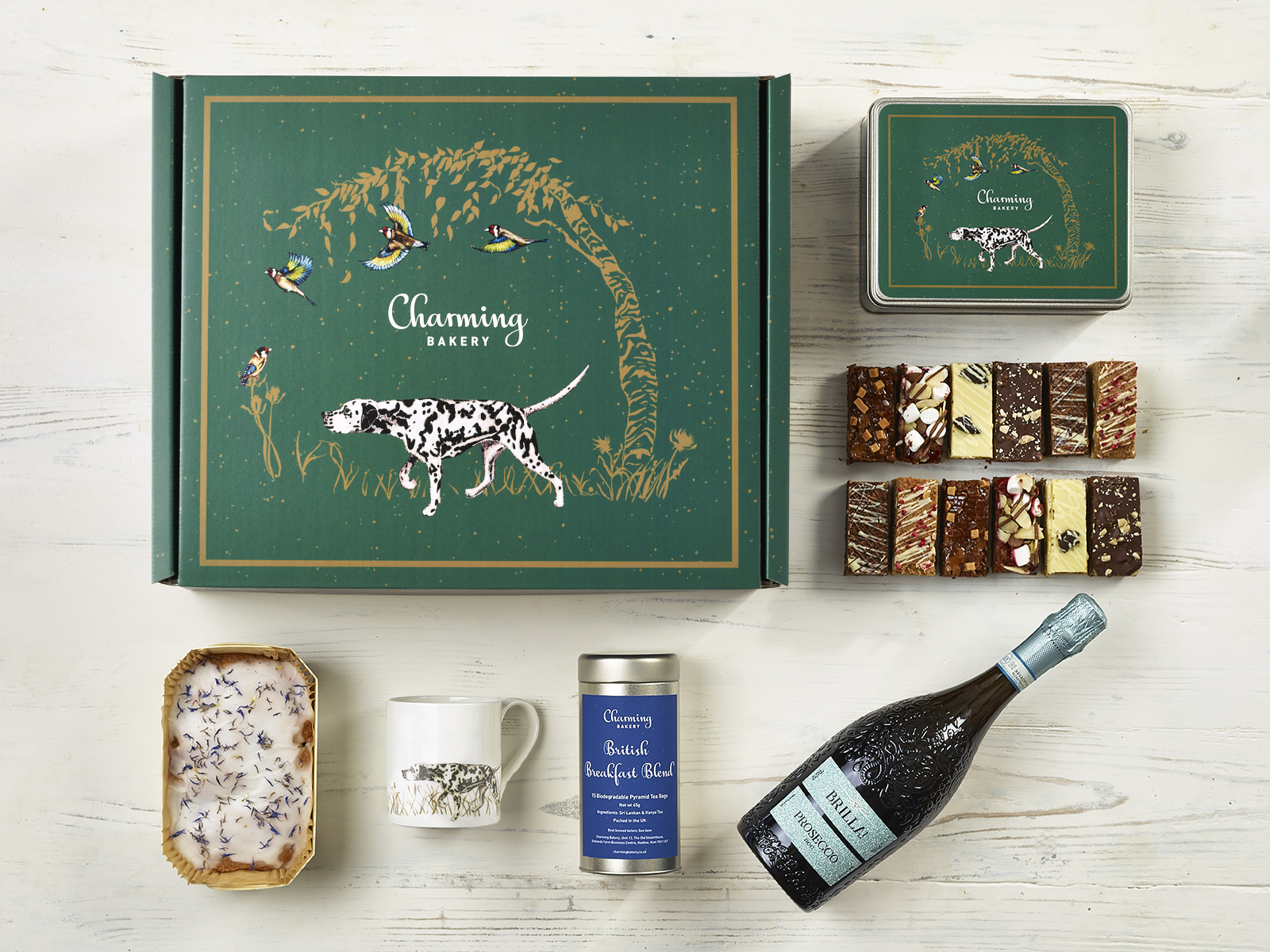 Luxury Prosecco Afternoon Tea Gift Hamper - Dalmatian Design - Charming Bakery