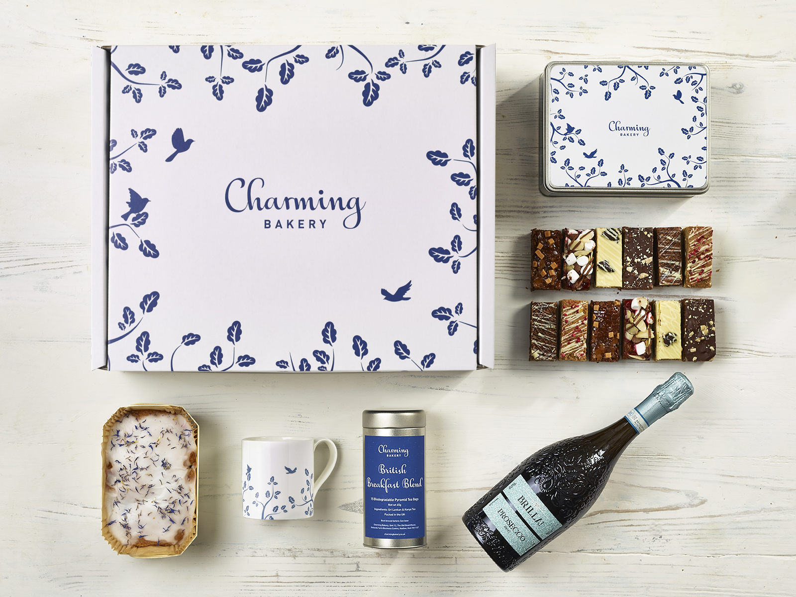Luxury Prosecco Afternoon Tea Gift Hamper - Leaves Design - Charming Bakery