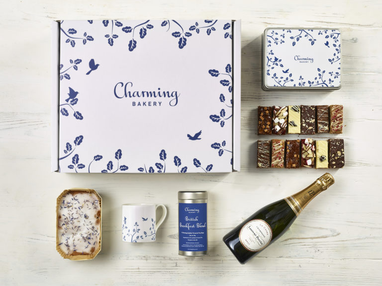 Quintessential Champagne Afternoon Tea Gift Hamper - Leaves Design - Charming Bakery